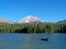 Volcanic Peak and Mountain Lake. Lassen Peak, Manzanita Lake, Lassen Volcanic National Park Stock Photography