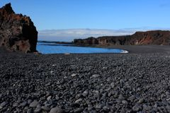 Volcanic pebble beach Stock Photo