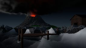 Volcanic pier. A computer generated image of a volcano, as it begins to erupt, the ocean waves whip the rocks of the bank Royalty Free Stock Image