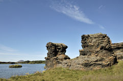 Volcanic pillars at Myvatn lake. Royalty Free Stock Image