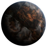 Volcanic planet. The volcanic planet, 3D rendering, isolated, fantasy Royalty Free Stock Image
