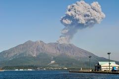 Volcanic plume rising over Sakurajima in Kagoshima, Japan royalty free stock photos