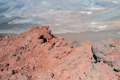 Volcanic red lava crater royalty free stock photos