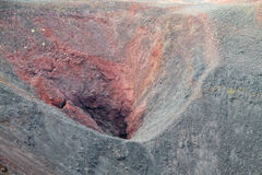 Volcanic red lava crater royalty free stock image