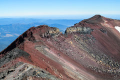 Volcanic red lava crater slope stock photos