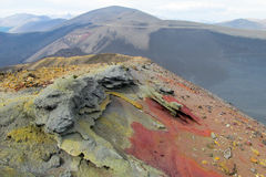 Volcanic red lava crater slope royalty free stock photos