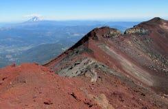 Volcanic red lava mountain ridge stock photo