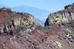 Volcanic red rocky mountain ridge stock image