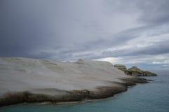 Volcanic Rock Cliffs at Sarakiniko Beach in Milos, Cyclades, Gre royalty free stock image