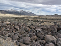 Volcanic rock field in the Northern Nevada Desert. Expansive scenery in the Northern Nevada Desert royalty free stock image