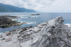 Volcanic rock formation. At Shihtiping, Hualien bay Pacific Ocean in Taiwan royalty free stock photography