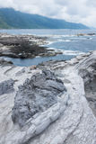 Volcanic rock formation. At Shihtiping, Hualien bay Pacific Ocean in Taiwan stock photography
