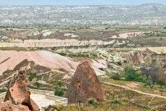 Volcanic rock formations in Cappadocia, Anatolia, Turkey. Goreme Royalty Free Stock Photos