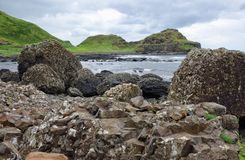 Volcanic Rock Formations at the Giants Causeway in Northern Irel Stock Photography