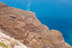Volcanic rock formations at Santorini on west  coast, Aegean sea, Greece. Volcanic rock formations at Santorini on west  coast, Cyclades, Aegean sea, Greece royalty free stock photo