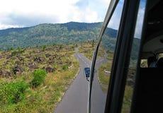 The volcanic rock fragments on road to Gunung Batur, Bali island, 2007 royalty free stock image