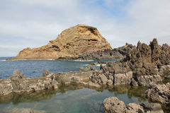 Volcanic rock pools in Porto Moniz, Madeira royalty free stock photos