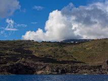 Volcanic rock and sea. Pantelleria, Sicily, Italy royalty free stock images