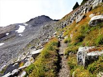Volcanic rock slope on Ptarmigan Ridge trail. At Mount Baker Royalty Free Stock Photography