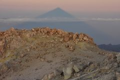 Mount Teide volcano summit at dawn Tenerife Canary Islands stock photo