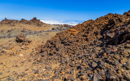 Volcanic Rocks Desert. Desert formed by volcanic rocks at the top of the Teide volcano Royalty Free Stock Photography