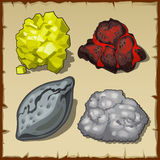 Volcanic rocks and gems, set of four items stock illustration