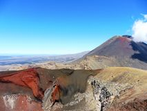 New zealand tongariro crossing national park volcano, red crater. Volcanic rocks red crater and a sunny day to hike. 19 km hiking in tongariro alpine crossing stock photo