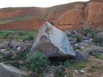 Volcanic rocks in spring. Near Yarmouk river. royalty free stock photos