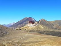 New zealand tongariro crossing national park volcano red crater. Volcanic rocks and a sunny day to hike. 19 km hiking in tongariro alpine crossing, emerald lakes stock photography