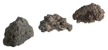 Volcanic rocks. Three volcanic stones isolated on white background Stock Photography