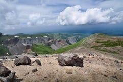Volcanic rocky mountains, wild landscape. Volcanic rocky mountains near lake Tianchi, wild landscape, national park Changbaishan, China Stock Photos