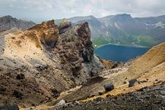 Volcanic rocky mountains, wild landscape. Volcanic rocky mountains and lake Tianchi, wild landscape, national park Changbaishan, China royalty free stock photos