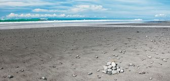 Volcanic sand beach Royalty Free Stock Images