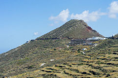 Volcanic Santorini panorama with steps terrain Royalty Free Stock Images