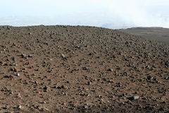Volcanic soil on the top of Etna Mountain Stock Images