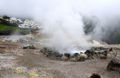 Volcanic steam of sulfur