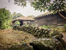 Volcanic stone boundary wall Royalty Free Stock Photos