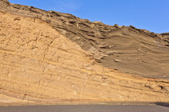 Volcanic stone formation with blue sky at el Golfo, Lanzarote Royalty Free Stock Photos