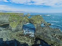 Volcanic stone rock in gatklettur in iceland royalty free stock photo