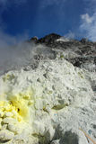 Volcanic sulfur. Sibayak volcano in Sumatra, with sulfurous smoking stones Stock Images