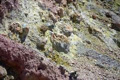 Volcanic sulphur deposits Royalty Free Stock Image