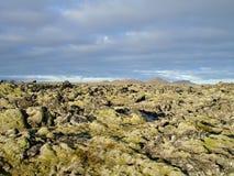 Volcanic terrain in Iceland. Extreme volcanic terrain in icelandic 'Blue Lagoon' area near Reykjavik stock images