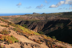 Volcanic terrain of tropical st helena island stock photography