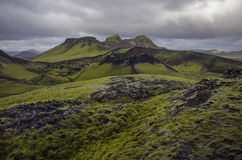 Volcanic valley in Iceland. Moss-covered volcanic valley in Iceland Stock Photography