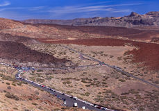 Volcanic valley near volcano Teide with blue sky Royalty Free Stock Images