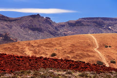 Volcanic valley near volcano Teide with blue sky Royalty Free Stock Photography