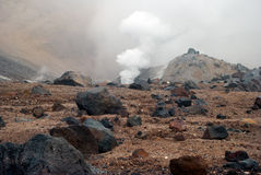 Volcanic vents with smoke, sulfur and ash Royalty Free Stock Image