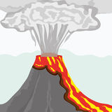 Volcano. Fuming volcano with fiery lava and big column of smoke,  illustration additional Stock Images