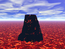 Volcano. 3D image of the volcano erupting the lava Stock Images