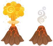 Volcano. Cartoon illustration of a volcano in 2 versions Stock Photography